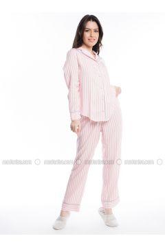 Pink - Stripe - Viscose - Pyjama - Pamuk&Pamuk(110323064)