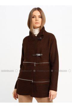 Brown - Unlined - Point Collar - Acrylic -- Jacket - Sementa(110336983)