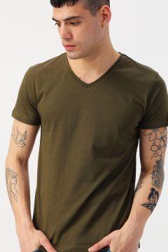 Koton V Yaka Haki Basic T-Shirt(113983497)