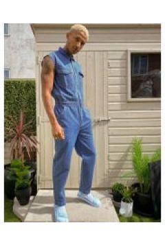 ASOS DESIGN - Tuta di jeans leggera senza maniche lavaggio blu medio(120357129)