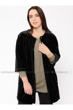 Black - Fully Lined - Crew neck - Jacket - Ginezza(110336389)