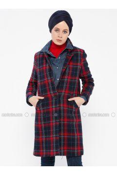 Navy Blue - Plaid - Fully Lined - Shawl Collar - Coat - İroni(110339006)