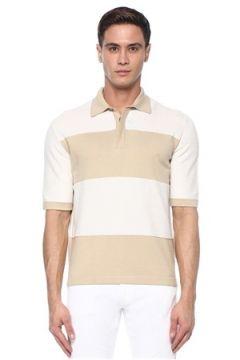 Paul Smith Erkek Bej Beyaz Polo Yaka Çizgili Kısa Kollu Triko S EU(117578390)