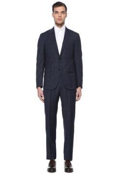 Zegna Erkek Lacivert Kareli Yün Takım Elbise 54 IT(114439323)