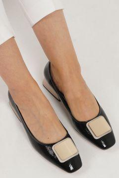 Marjin Siyah Rugan Kadın Tebra Topuklu Ayakkabı(121096264)