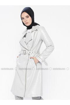 Gray - Fully Lined - Shawl Collar - Puffer Jackets - MOODBASİC(110339169)