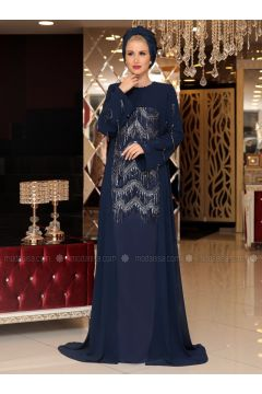 Navy Blue - Fully Lined - Crew neck - Muslim Evening Dress - Selma Sarı Design(110332912)