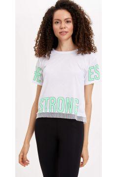 DeFacto Kadın Baskılı Kısa Kollu T-shirt(119059228)