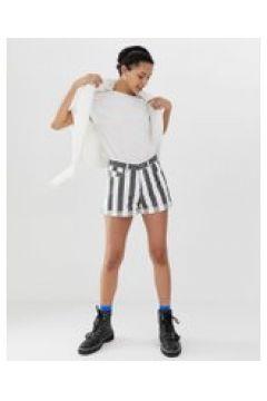 Dr Denim - Jenn - Gestreifte Shorts mit hoher Taille und aufgerolltem Saum - Mehrfarbig(86710053)