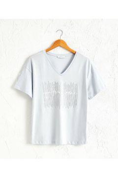 Kadın Işıltılı Baskılı Pamuklu Tişört(119784193)