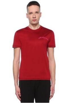 Alexander McQueen Erkek Kırmızı Logo Nakışlı Basic T-shirt M EU(107864126)