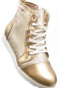 Pantofelek24.pl | Złote botki z wiązaniami i suwakiem(112083021)