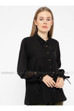 Black - Point Collar - Blouses - REPP(110339062)