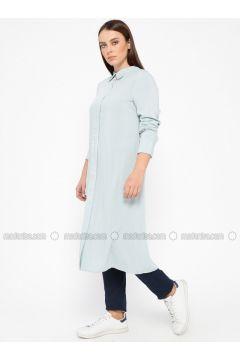 Blue - Round Collar - Plus Size Tunic - Alesya By Tuğba(110317399)
