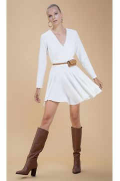 Selma Çilek Volanlı Beyaz Elbise(122401684)