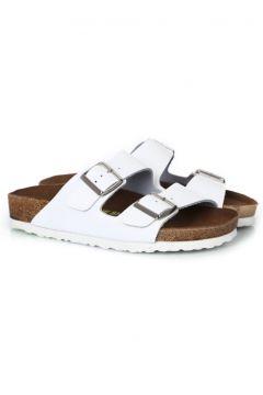 sothe shoes Erkek Bantlı Terlik Hakiki Deri Beyaz - Bs-1101(110954362)