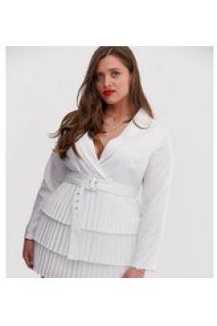 In The Style Plus x Dani Dyer - Weißes Blazerkleid mit tiefem Ausschnitt vorn und plissiertem Rock - Weiß(95026969)