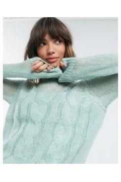 Fashion Union Plus - Maglione con lavorazione a trecce spesse e pannello trasparente-Verde(122684465)
