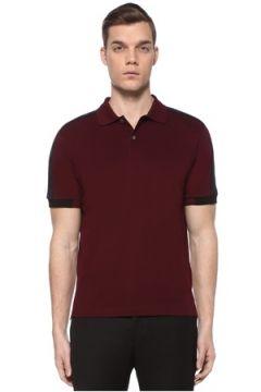 Prada Erkek Bordo Siyah Polo Yaka Şeritli T-shirt XL EU(109148721)