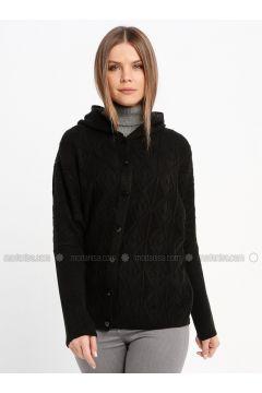 Black - Unlined - Acrylic -- Jacket - Sementa(110337026)