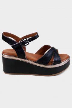KAMMI Siyah Hakiki Deri Kadın Dolgu Topuk Sandalet(118221784)