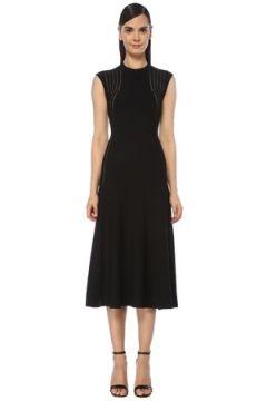 Alaia Kadın Siyah Şerit Detaylı Midi Triko Elbise 38 FR(118374760)