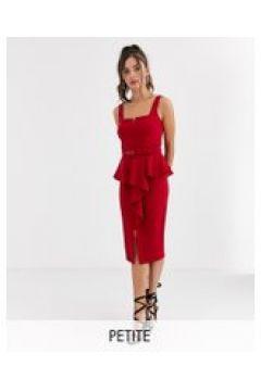 Paper Dolls - Vestito midi peplo rosso con spacco e cintura(120326915)