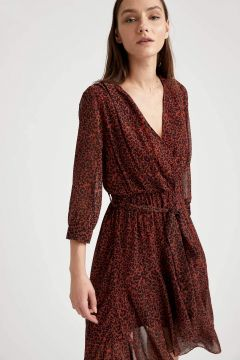 DeFacto Kadın Asimetrik Detaylı Kruvaze Yaka Elbise(125934599)