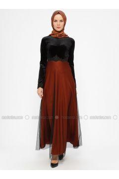 Terra Cotta - Unlined - Crew neck - Muslim Evening Dress - Laruj(110321848)