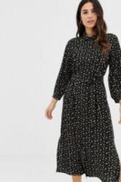 Fashion Union - Vestito camicia midi con stampa a cuori e fiori-Nero(120301715)