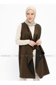 Khaki - Unlined - Shawl Collar - Viscose - Vest - XTREND(110329265)