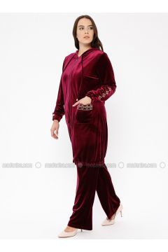 Maroon - Unlined - Plus Size Suit - Ginezza(110336821)