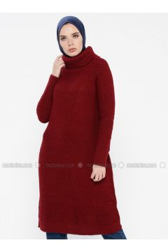 Maroon - Polo neck - Acrylic -- Jumper - MOODBASİC(110339192)