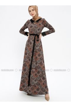 Black - Multi - Fully Lined - Crew neck - Muslim Evening Dress - MissGlamour(110321616)