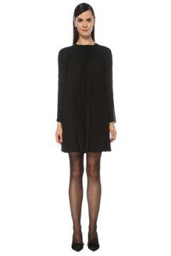 Red Valentino Kadın Siyah Pilili Dantel Garnili Uzun Kol Mini Elbise 42 IT(118330372)