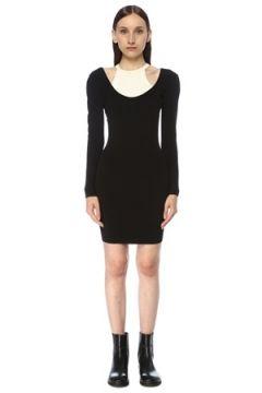 T by Alexander Wang Kadın Siyah Beyaz Çift Yakalı Sırt Dekolteli Mini Elbise XS EU(117384914)
