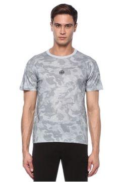 Stone Island Erkek Big Loom Gri Kamuflaj Desenli T-shirt S EU(117578367)