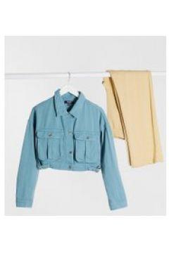 Missguided Tall - Giacca di jeans corta con fibbie grigio salvia(121198065)
