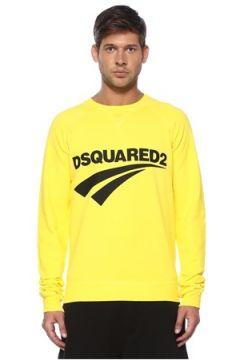 Dsquared2 Erkek Sarı Siyah Logo Baskılı Basic Sweatshirt XL EU(119423256)