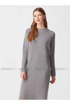 Gray - Crew neck - Unlined -- Dresses - Dilvin(110343540)