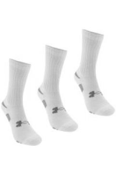 Under Armour HeatGear 3 Pack Mens Crew Socks - White(107967185)