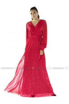 Black - Fully Lined - V neck Collar - Muslim Evening Dress - 6IXTY8IGHT(110317280)