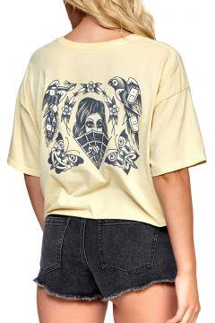 T-Shirt à Manche Courte Femme RVCA Eli Flash Boyfriend Cropped - Cork(119289410)