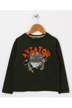 Funky Rocks Karakter Baskılı Yeşil T-Shirt(113965474)