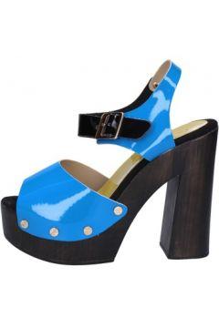 Sandales Suky Brand sandales bleu cuir verni noir AB322(115393817)