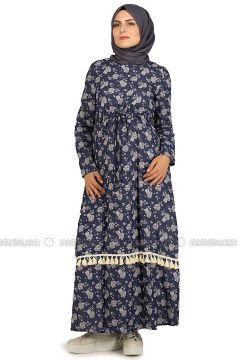 Navy Blue - Crew neck - Unlined - Cotton - Linen - Dresses - NAKŞİN(110339674)