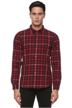 PS by Paul Smith Erkek Kırmızı Siyah İngiliz Yaka Kareli Gömlek S EU(121108258)