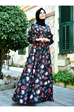 Black - Floral - Crew neck - Unlined - Dresses - Nurgül Çakır(110316790)