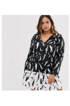 River Island Plus - Swing-Kleid mit Kragen und Print in Monochrom - Schwarz(94156960)