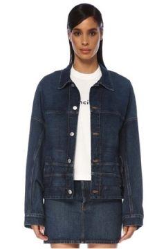 Balenciaga Kadın Upside Down Sırt Detaylı Jean Ceket Mavi 34 FR(120730948)